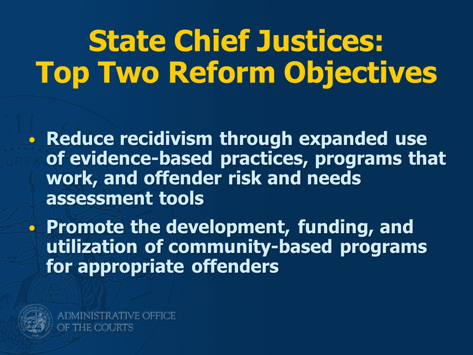 State Chief Justices: Top Two Reform Objectives Reduce recidivism through expanded use of evidence-based practices, programs that work, and offender risk and needs assessment tools Reduce recidivism through expanded use of evidence-based practices, programs that work, and offender risk and needs assessment tools Promote the development, funding, and utilization of community-based programs for appropriate offenders Promote the development, funding, and utilization of community-based programs for appropriate offenders
