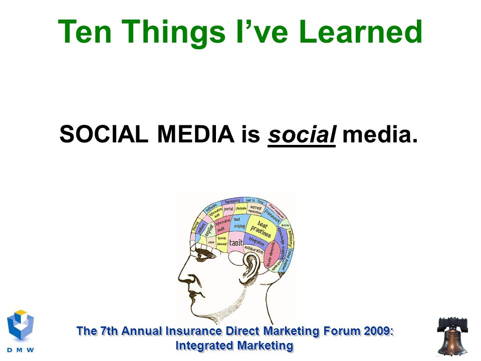 The 7th Annual Insurance Direct Marketing Forum 2009: Integrated Marketing SOCIAL MEDIA is social media.
