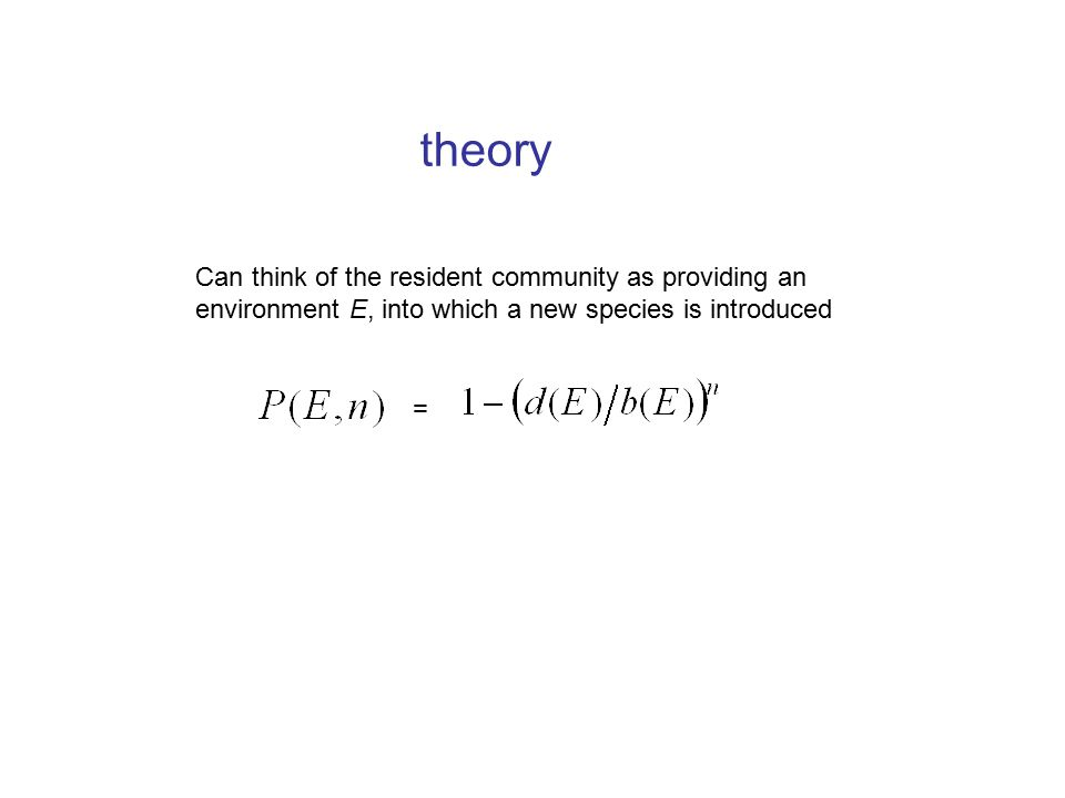 theory = Can think of the resident community as providing an environment E, into which a new species is introduced