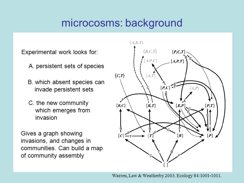 microcosms: exceptions: invaders as catalysts of change: {B,P} {P} E prop.