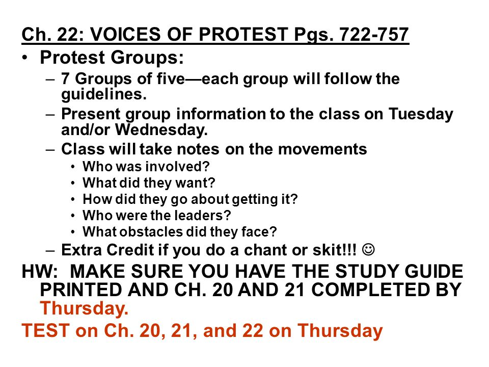 Ch. 22: VOICES OF PROTEST Pgs.