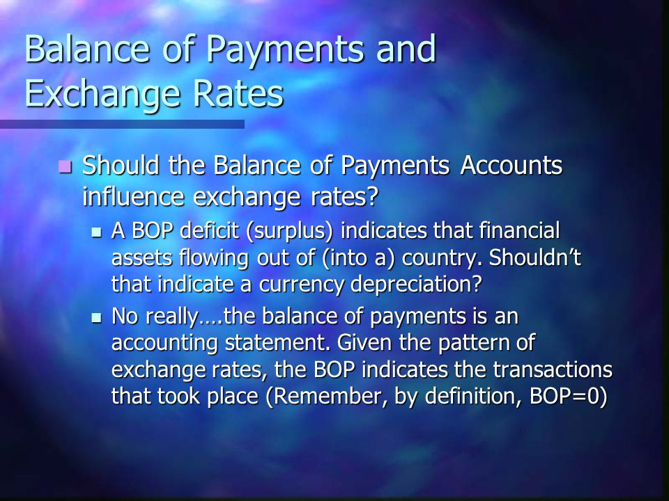 Balance of Payments and Exchange Rates Should the Balance of Payments Accounts influence exchange rates? Should the Balance of Payments Accounts influ