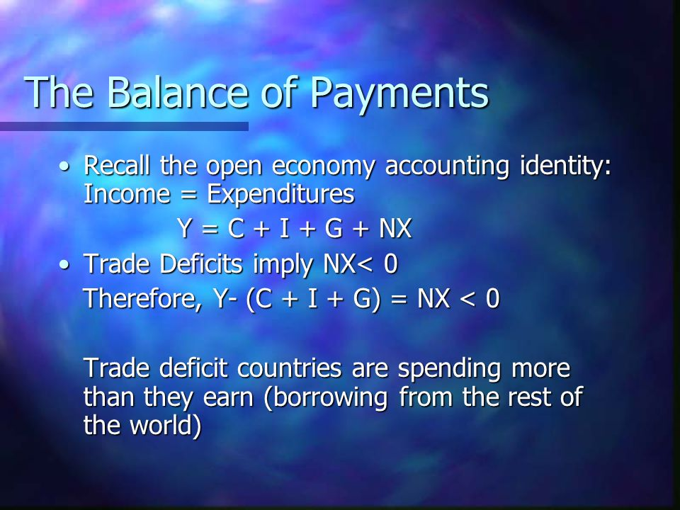 The Balance of Payments Recall the open economy accounting identity: Income = ExpendituresRecall the open economy accounting identity: Income = Expend