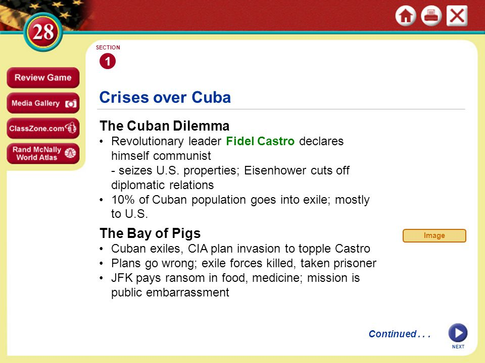Crises over Cuba The Cuban Dilemma Revolutionary leader Fidel Castro declares himself communist - seizes U.S.