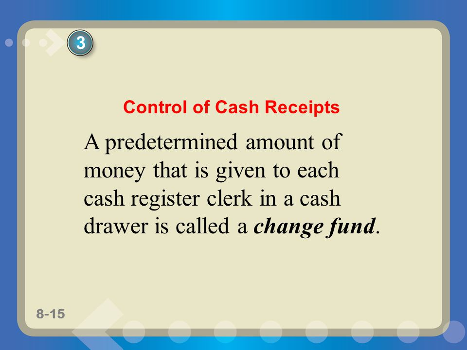 8-15 A predetermined amount of money that is given to each cash register clerk in a cash drawer is called a change fund.