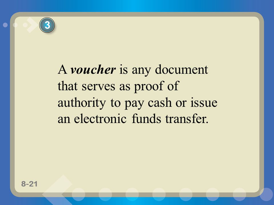 8-21 A voucher is any document that serves as proof of authority to pay cash or issue an electronic funds transfer.