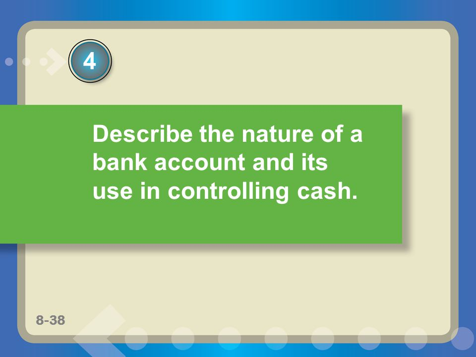 8-22 Describe the nature of a bank account and its use in controlling cash. 4 8-38