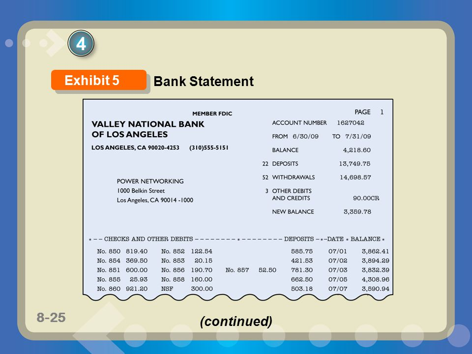 8-25 4 Exhibit 5 Bank Statement (continued)