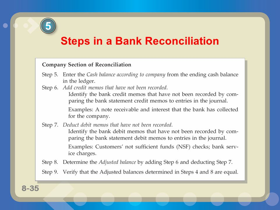 8-35 Steps in a Bank Reconciliation 5