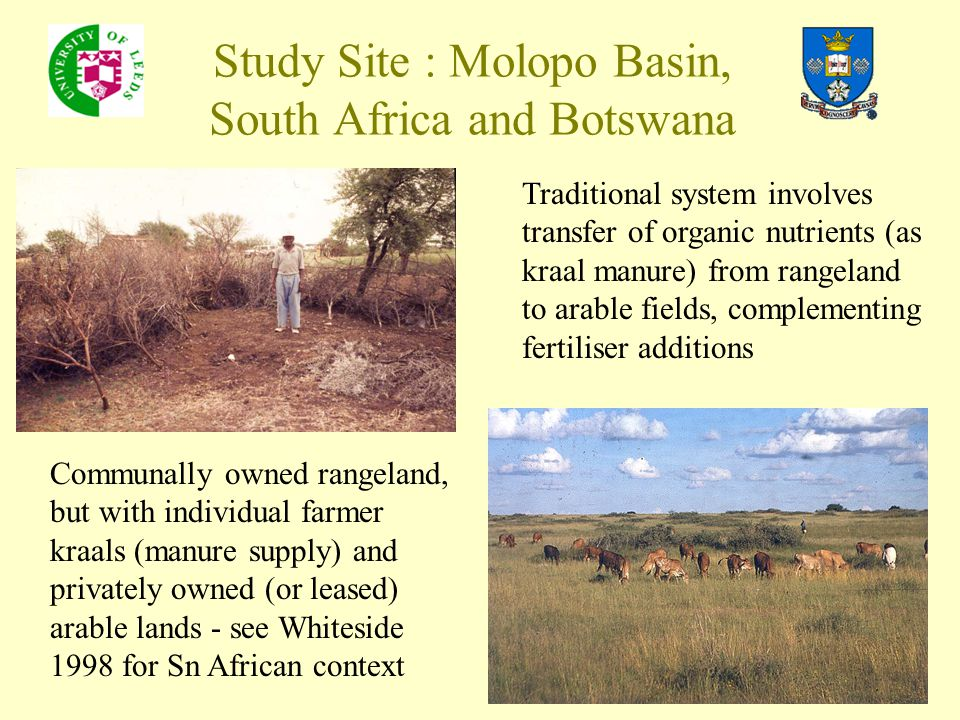 Study Site : Molopo Basin, South Africa and Botswana Traditional system involves transfer of organic nutrients (as kraal manure) from rangeland to ara