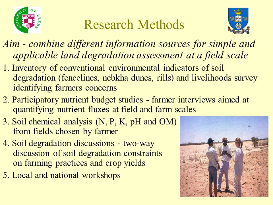 Research Methods Aim - combine different information sources for simple and applicable land degradation assessment at a field scale 1. Inventory of co