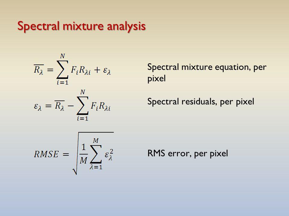 Spectral mixture analysis Spectral mixture equation, per pixel Spectral residuals, per pixel RMS error, per pixel