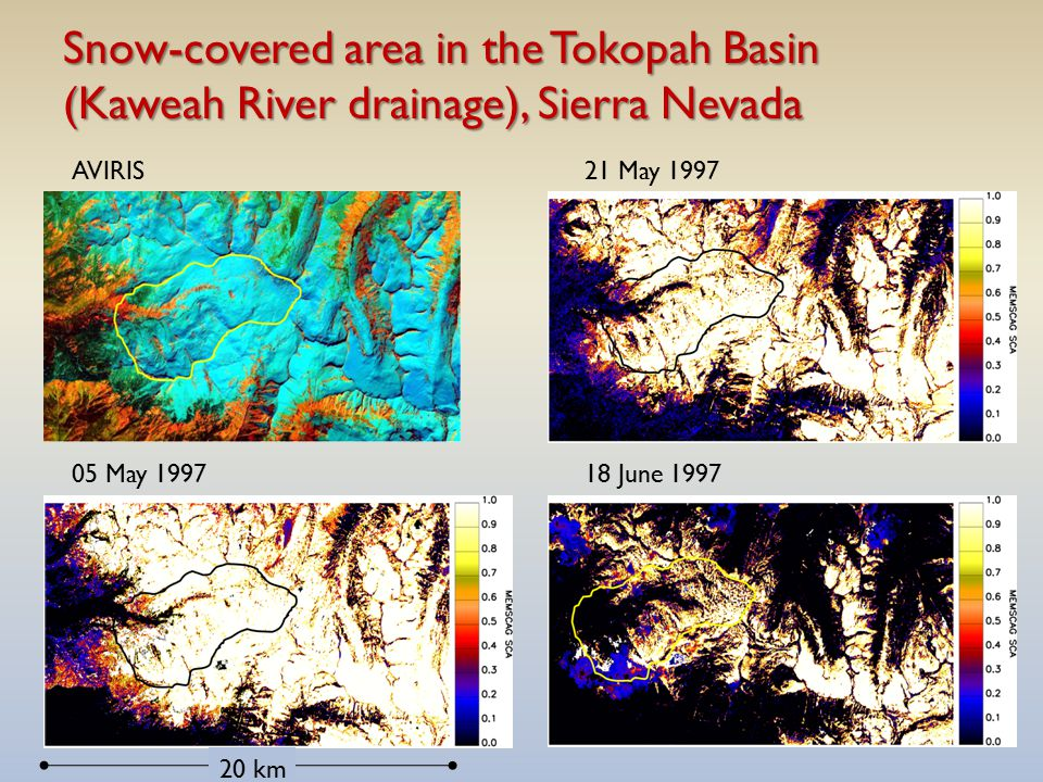Snow-covered area in the Tokopah Basin (Kaweah River drainage), Sierra Nevada AVIRIS 05 May 1997 21 May 1997 18 June 1997 20 km