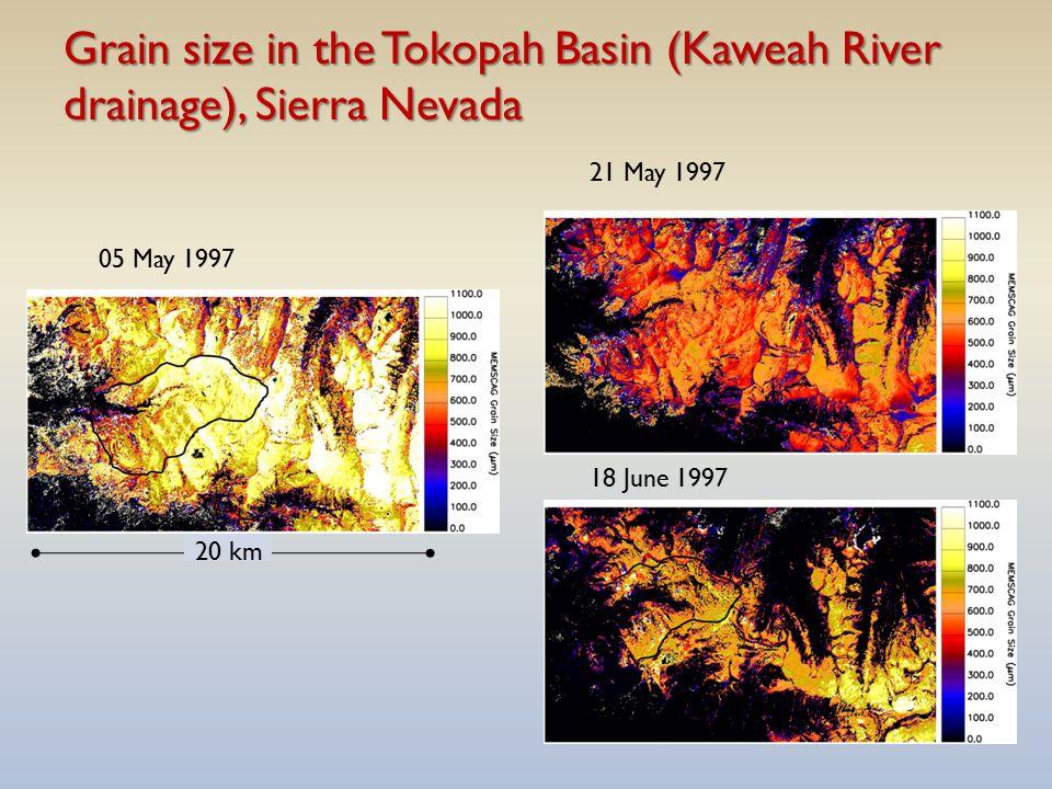 Grain size in the Tokopah Basin (Kaweah River drainage), Sierra Nevada 05 May 1997 21 May 1997 18 June 1997 20 km