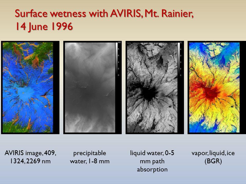 Surface wetness with AVIRIS, Mt. Rainier, 14 June 1996 AVIRIS image, 409, 1324, 2269 nm precipitable water, 1-8 mm liquid water, 0-5 mm path absorptio