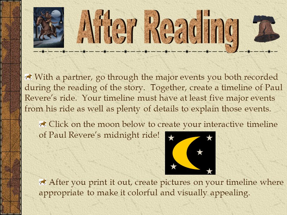 With a partner, go through the major events you both recorded during the reading of the story.