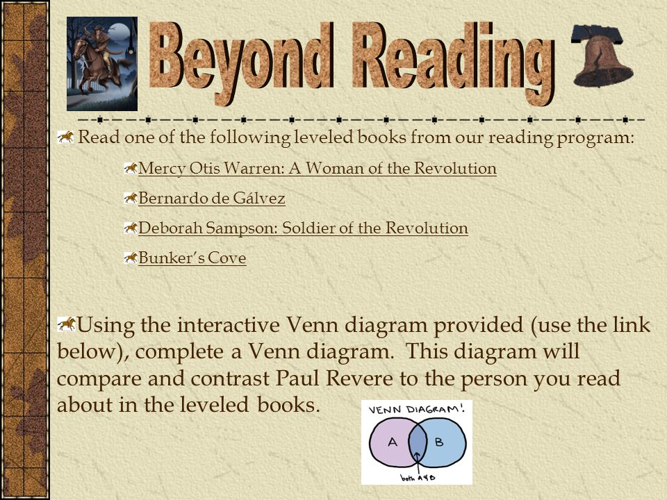 Read one of the following leveled books from our reading program: Mercy Otis Warren: A Woman of the Revolution Bernardo de Gálvez Deborah Sampson: Soldier of the Revolution Bunker's Cove Using the interactive Venn diagram provided (use the link below), complete a Venn diagram.