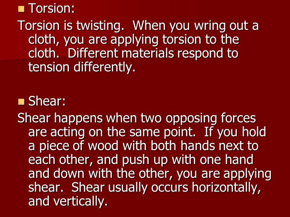 Torsion: Torsion: Torsion is twisting.