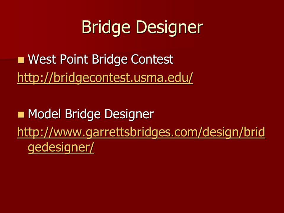 Bridge Designer West Point Bridge Contest West Point Bridge Contest http://bridgecontest.usma.edu/ Model Bridge Designer Model Bridge Designer http://www.garrettsbridges.com/design/brid gedesigner/ http://www.garrettsbridges.com/design/brid gedesigner/