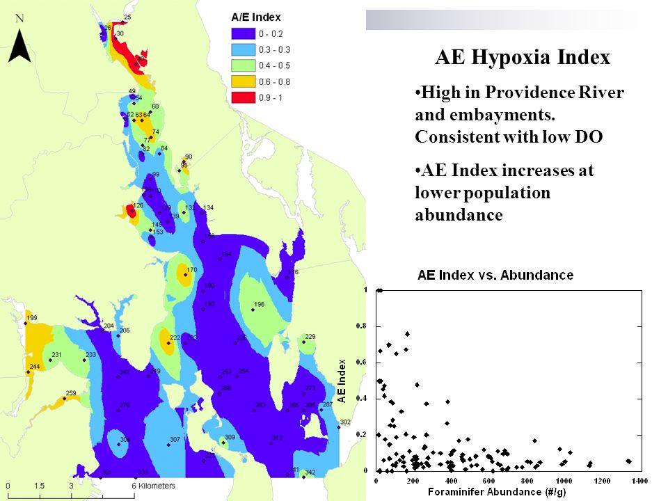 AE Hypoxia Index High in Providence River and embayments.