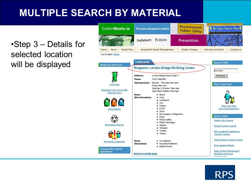 MULTIPLE SEARCH BY MATERIAL Step 3 – Details for selected location will be displayed