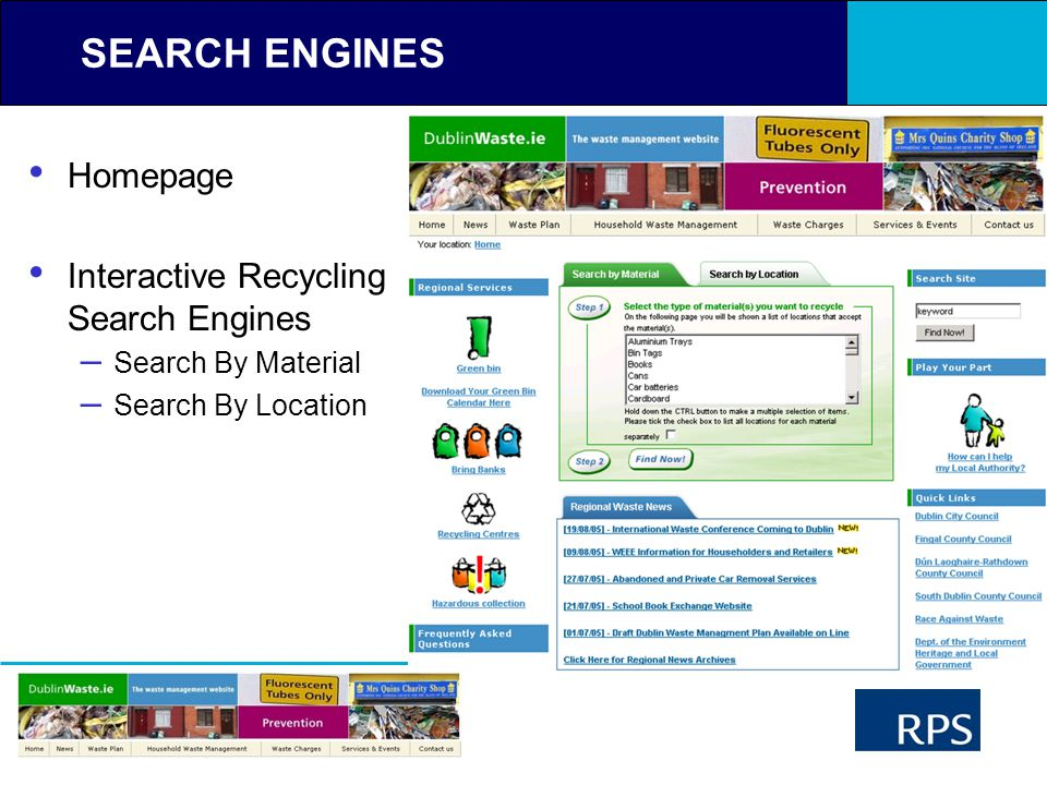 RPS Ireland SEARCH ENGINES Homepage Interactive Recycling Search Engines – Search By Material – Search By Location