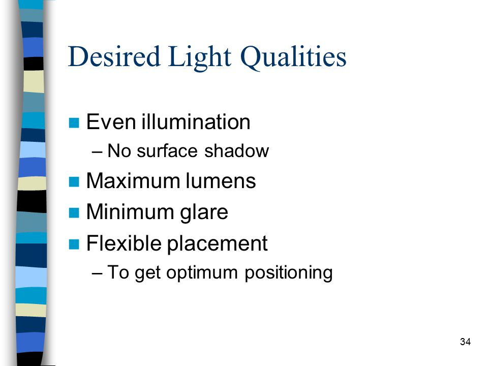 34 Desired Light Qualities Even illumination –No surface shadow Maximum lumens Minimum glare Flexible placement –To get optimum positioning