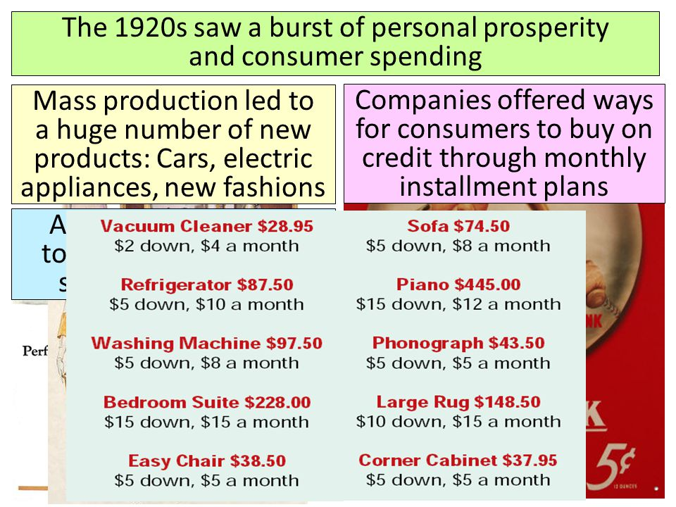 The 1920s saw a burst of personal prosperity and consumer spending Mass production led to a huge number of new products: Cars, electric appliances, ne