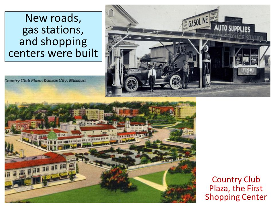 New roads, gas stations, and shopping centers were built Country Club Plaza, the First Shopping Center
