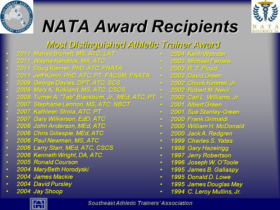 Southeast Athletic Trainers' Association Hall of Fame NATA Award Recipients Most Distinguished Athletic Trainer Award 2011 Marisa Brunett, MS, ATC, LAT2011 Marisa Brunett, MS, ATC, LAT 2011 Wayne Kendrick, MA, ATC2011 Wayne Kendrick, MA, ATC 2011 Doug Kleiner, PhD, ATC, FNATA2011 Doug Kleiner, PhD, ATC, FNATA 2011 Jeff Konin, PhD, ATC, PT, FACSM, FNATA2011 Jeff Konin, PhD, ATC, PT, FACSM, FNATA 2009 George Davies, DPT, ATC, SCS2009 George Davies, DPT, ATC, SCS 2009 Mary K.