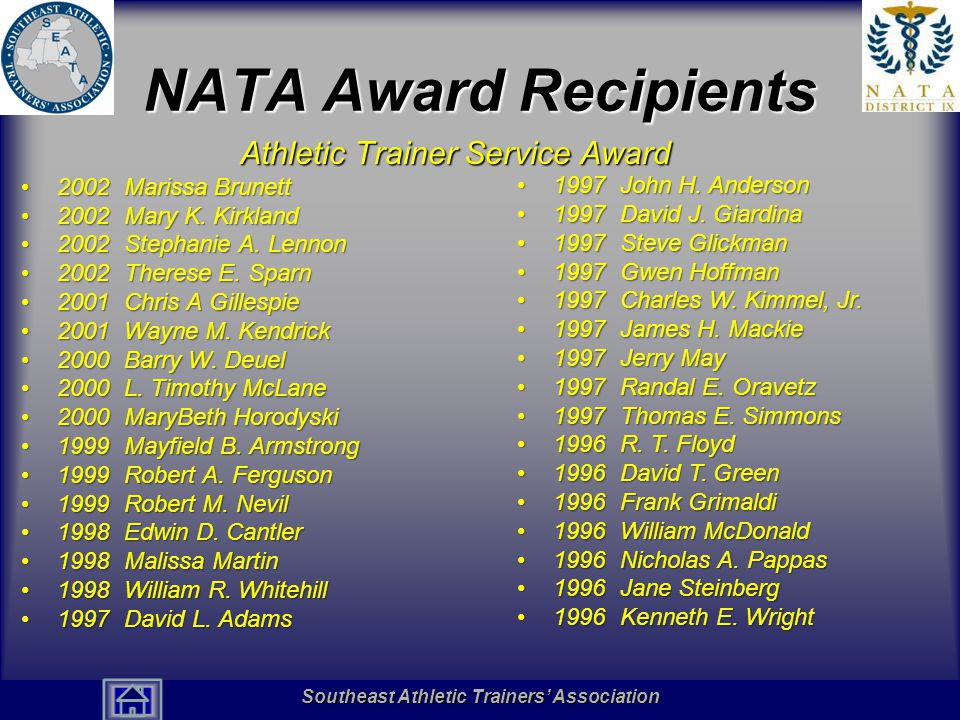 Southeast Athletic Trainers' Association Hall of Fame NATA Award Recipients Athletic Trainer Service Award 2002 Marissa Brunett2002 Marissa Brunett 2002 Mary K.