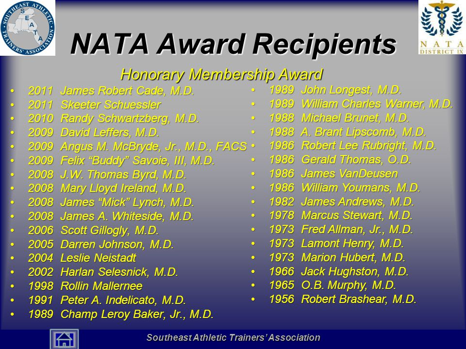 Southeast Athletic Trainers' Association Hall of Fame NATA Award Recipients Honorary Membership Award 2011 James Robert Cade, M.D.2011 James Robert Cade, M.D.