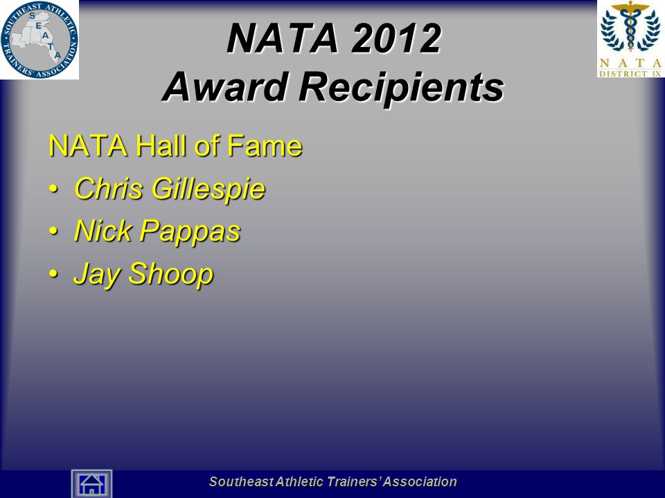 Southeast Athletic Trainers' Association Hall of Fame NATA 2012 Award Recipients NATA Hall of Fame Chris GillespieChris Gillespie Nick PappasNick Pappas Jay ShoopJay Shoop Southeast Athletic Trainers' Association