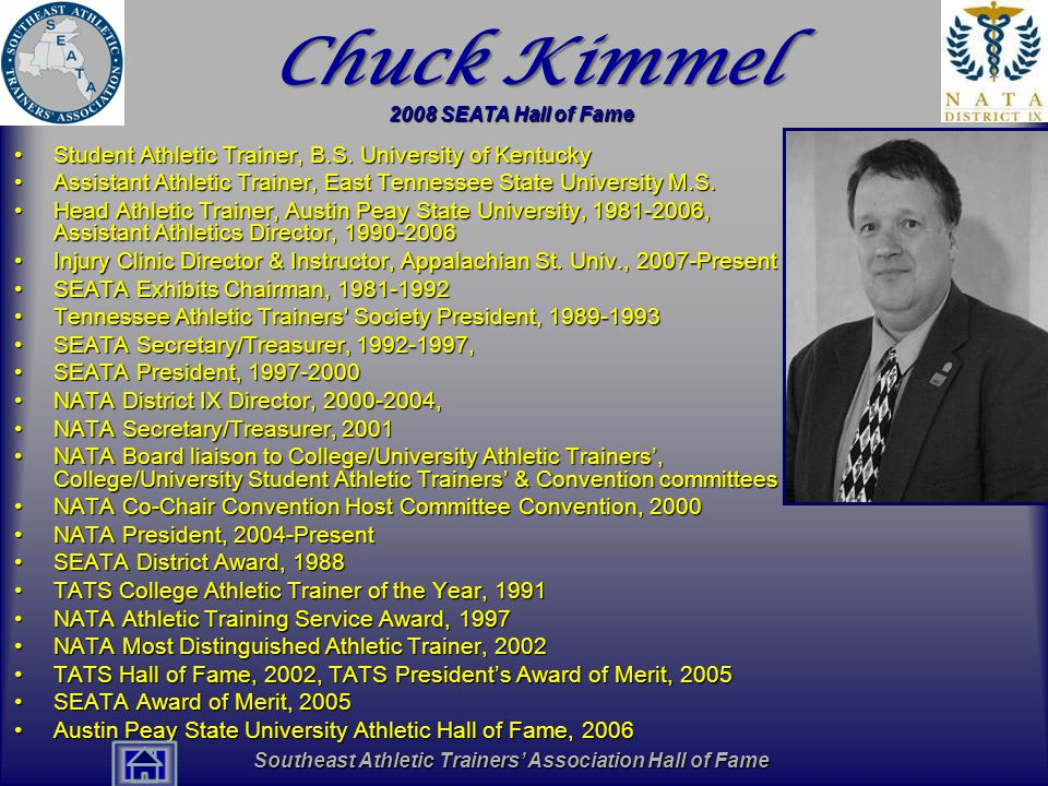 Southeast Athletic Trainers' Association Hall of Fame Chuck Kimmel Student Athletic Trainer, B.S.