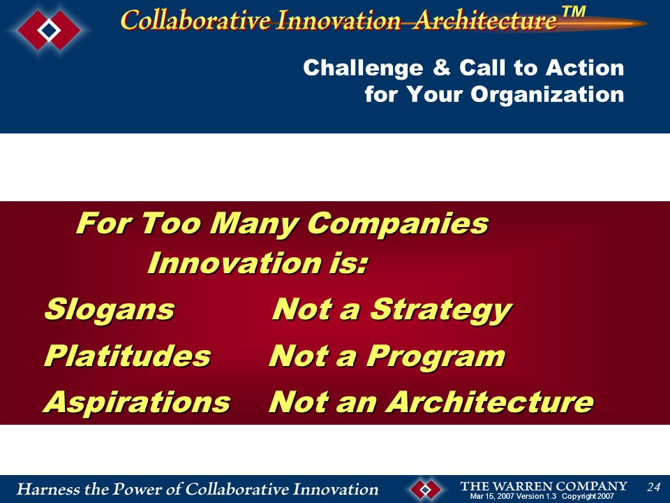 Mar 15, 2007 Version 1.3 Copyright 2007 24 Challenge & Call to Action for Your Organization For Too Many Companies Innovation is: Slogans Not a Strategy Slogans Not a Strategy Platitudes Not a Program Platitudes Not a Program Aspirations Not an Architecture Aspirations Not an Architecture