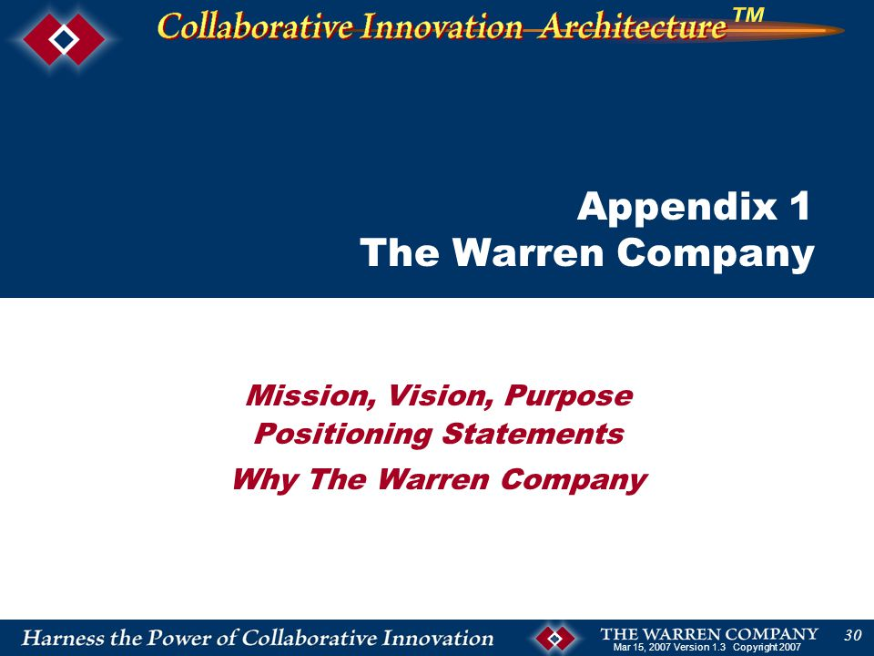 Mar 15, 2007 Version 1.3 Copyright 2007 30 Mission, Vision, Purpose Positioning Statements Why The Warren Company Appendix 1 The Warren Company