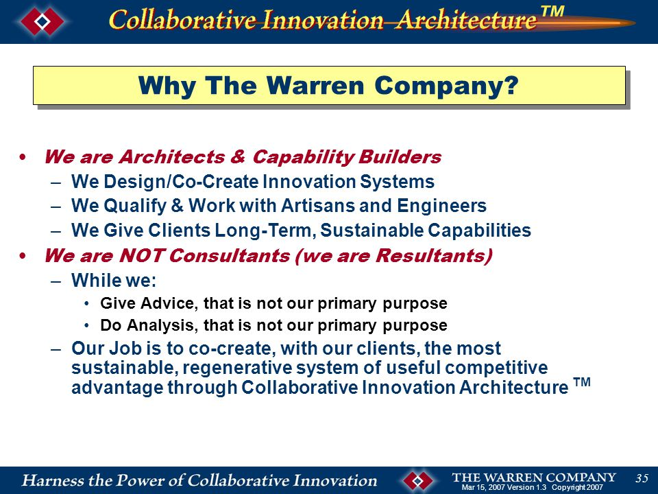 Mar 15, 2007 Version 1.3 Copyright 2007 35 Why The Warren Company.
