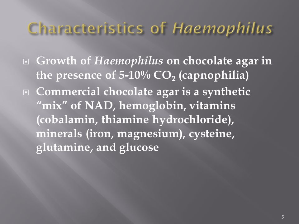  Growth of Haemophilus on chocolate agar in the presence of 5-10% CO 2 (capnophilia)  Commercial chocolate agar is a synthetic mix of NAD, hemoglobin, vitamins (cobalamin, thiamine hydrochloride), minerals (iron, magnesium), cysteine, glutamine, and glucose 5