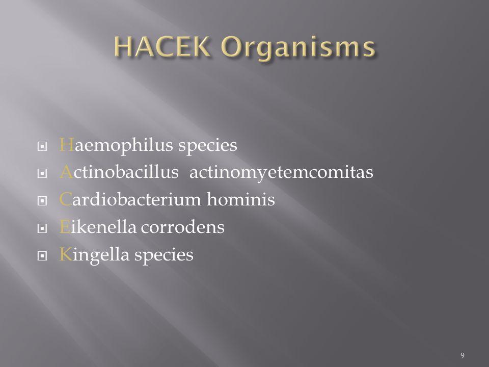  Haemophilus species  Actinobacillus actinomyetemcomitas  Cardiobacterium hominis  Eikenella corrodens  Kingella species 9