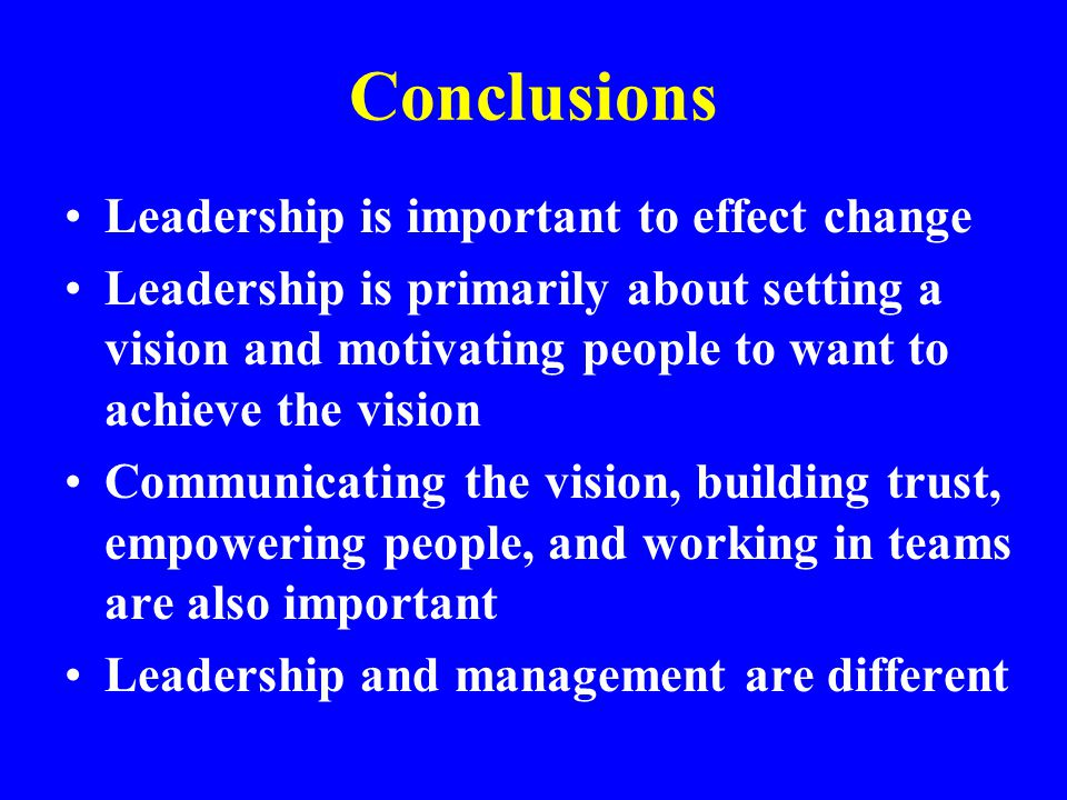 Conclusions Leadership is important to effect change Leadership is primarily about setting a vision and motivating people to want to achieve the visio