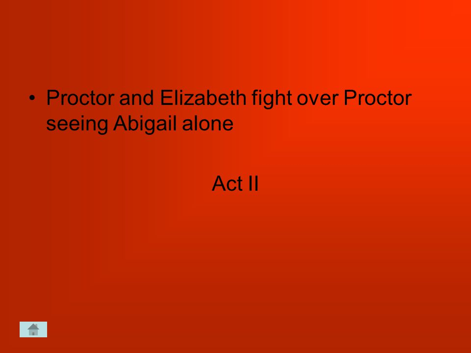 Proctor and Elizabeth fight over Proctor seeing Abigail alone Act II