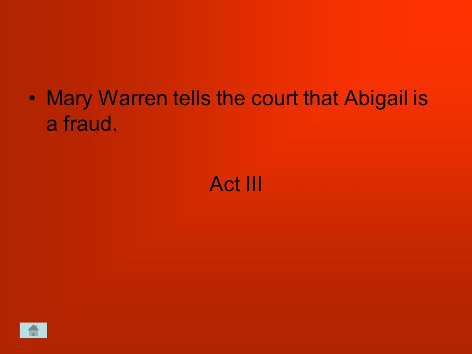 Mary Warren tells the court that Abigail is a fraud. Act III