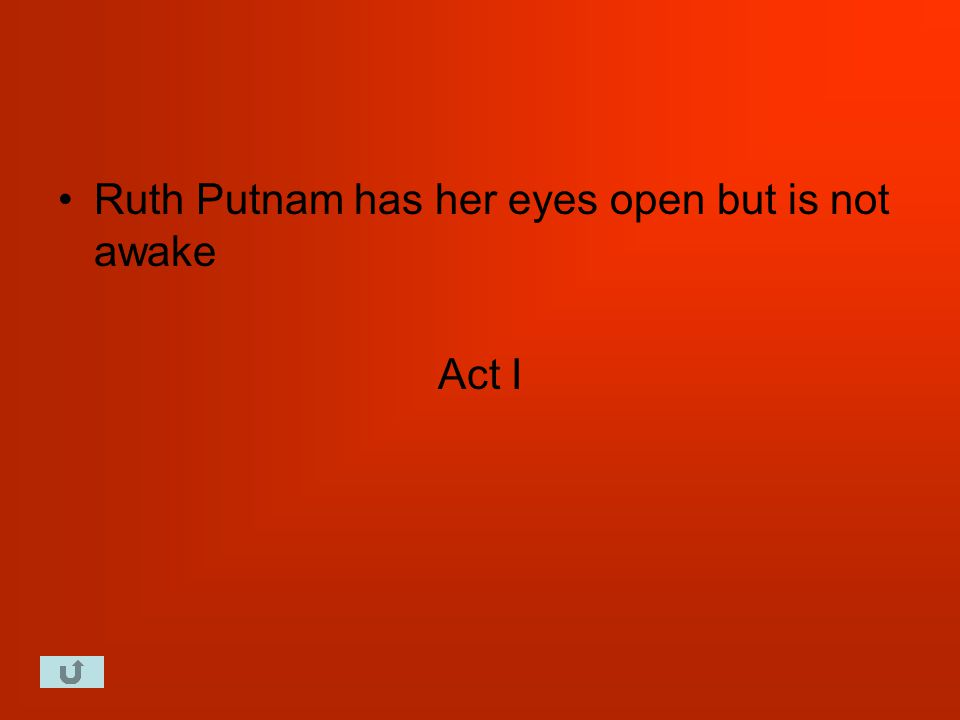 Ruth Putnam has her eyes open but is not awake Act I