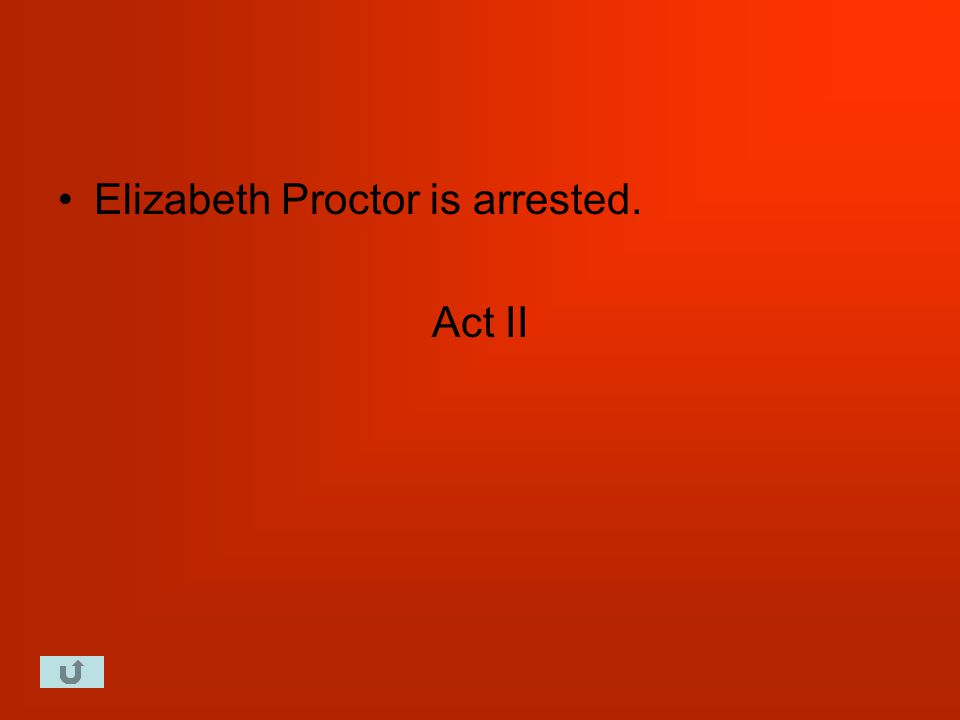 Elizabeth Proctor is arrested. Act II