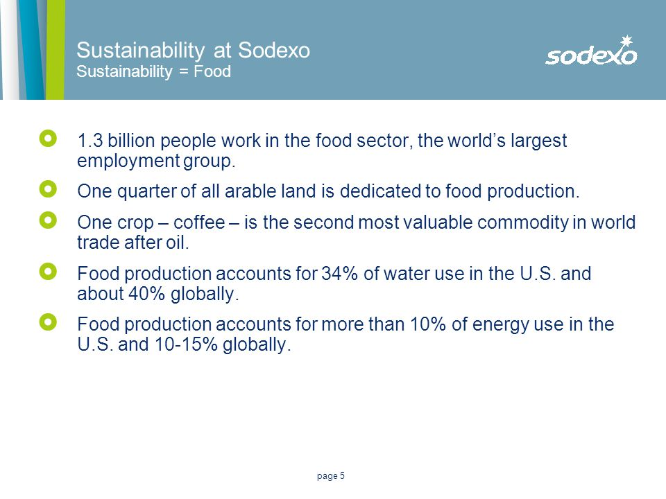 page 5  1.3 billion people work in the food sector, the world's largest employment group.  One quarter of all arable land is dedicated to food produ