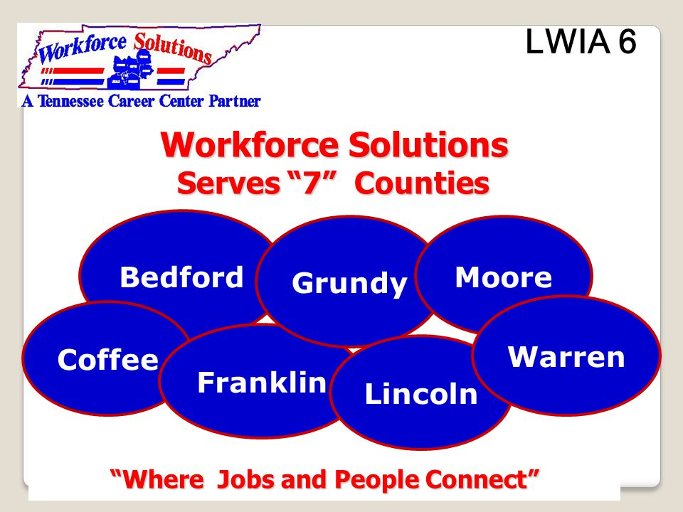 LWIA 6 Chief Elected Officials Bedford County Eugene Ray Coffee County David Pennington Coffee County David Pennington Franklin County Richard Stewart Franklin County Richard Stewart Grundy County Lonnie Cleek Grundy County Lonnie Cleek Lincoln County Peggy Bevels Lincoln County Peggy Bevels Warren County John Pelham Warren County John Pelham Moore County Sloan Stewart Moore County Sloan Stewart