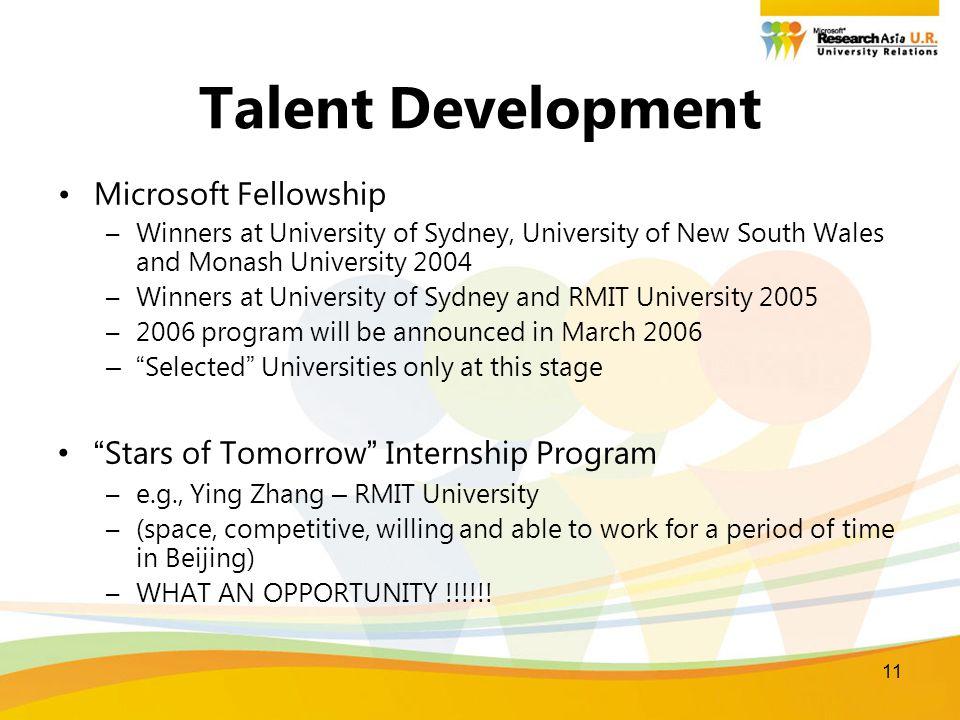11 Talent Development Microsoft Fellowship –Winners at University of Sydney, University of New South Wales and Monash University 2004 –Winners at Univ