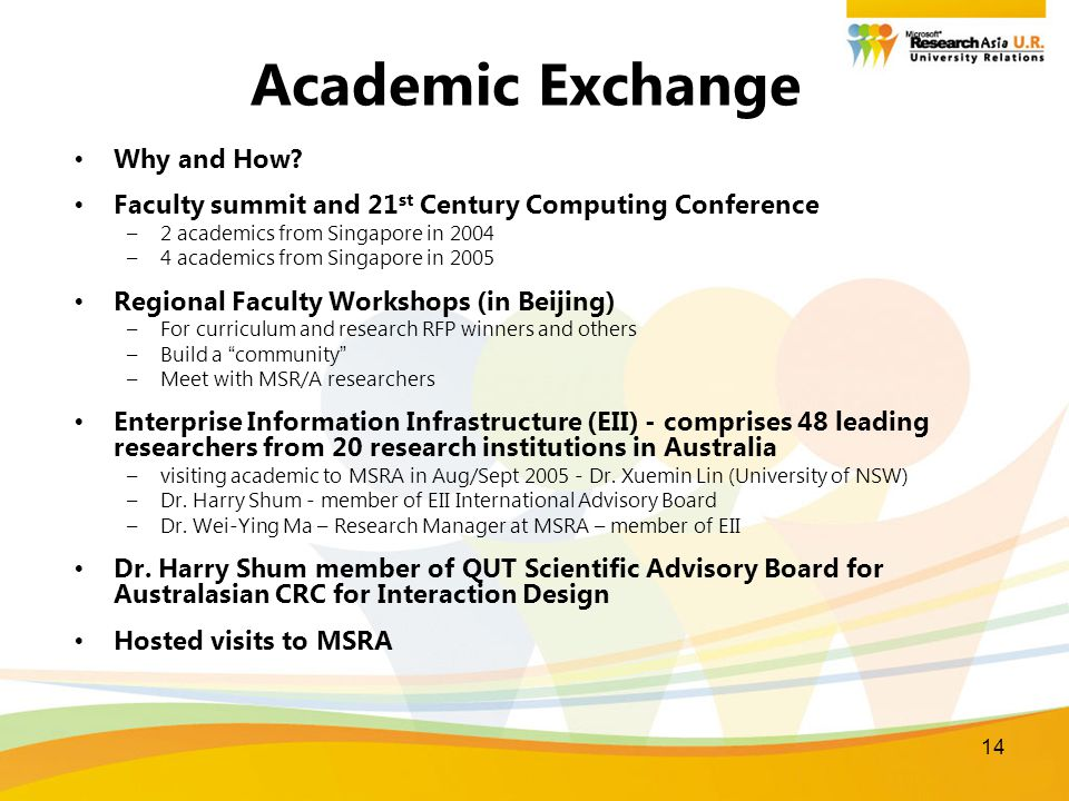 14 Academic Exchange Why and How? Faculty summit and 21 st Century Computing Conference –2 academics from Singapore in 2004 –4 academics from Singapor