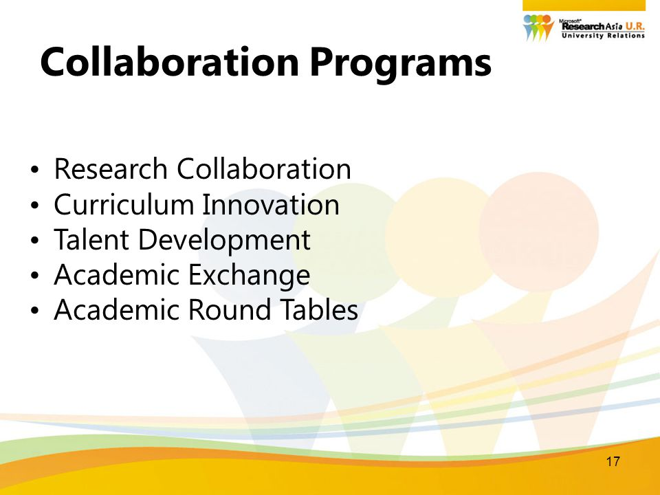 17 Collaboration Programs Research Collaboration Curriculum Innovation Talent Development Academic Exchange Academic Round Tables