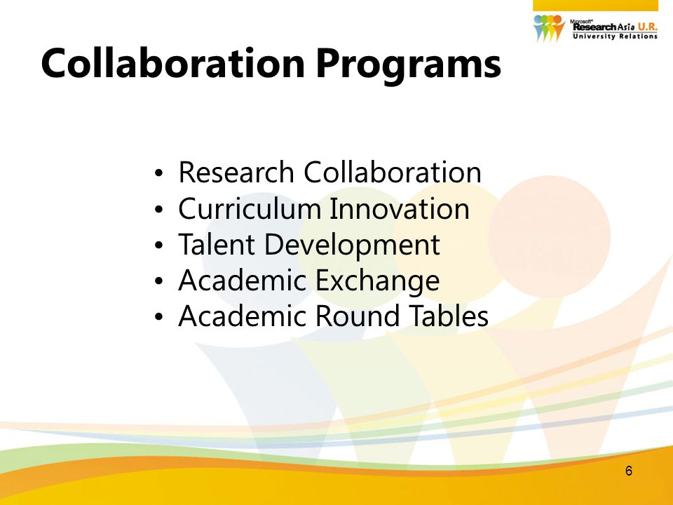 6 Collaboration Programs Research Collaboration Curriculum Innovation Talent Development Academic Exchange Academic Round Tables